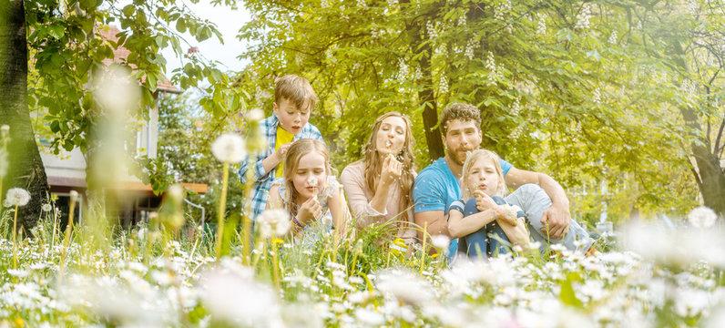 Family of five sitting on a meadow blowing dandelion flowers