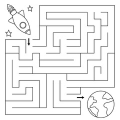 Maze game for children, help the rocket find right path to the earth. Coloring page. Vector illustration.