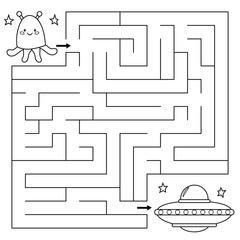 Maze game for children, help the alien find right path to the UFO. Coloring page. Vector illustration.