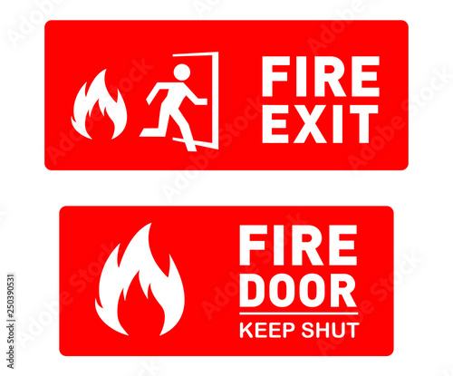 image relating to Free Printable Safety Signs titled Hearth Exit and Fireplace Doorway Stability Indications - Editable and