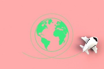 Close up of airplane flying around the world concept illustration on pink background, Top view with copy space, 3d rendering