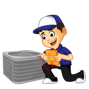 Hvac Cleaner or technician checking air conditioner
