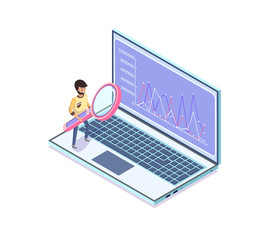 Statistics and information in visual form vector. Laptop with info of businessman with magnifying glass searching, scrutinizing results on monitor
