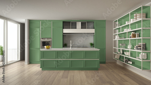 Classic Green Kitchen In Modern Open Space With Parquet ...