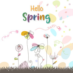 Hello spring. Spring Background. Spring design background with abstract beautiful colorful flower. Vector illustration. Wallpaper. flyers, posters, brochure, voucher discount.