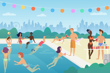 Happy man and woman are swimming in the pool, talking, playing with ball, enjoy time, having fun at the open air pool summer party. colourful vector illustration.