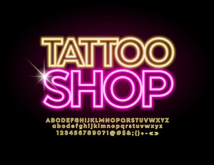 Vector neon emblem Tattoo Shop with lighting yellow Font. Glowing Alphabet Letters.