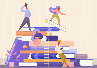People with book concept. Learning, education and school, knowledge, study and literature. Reading books flat vector illustration.