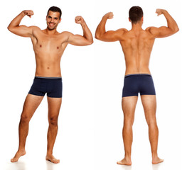 front and back of shirtless handsome man in panties on white background showing his biceps