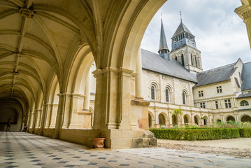 Fontevraud abbey courtyard and porch in the summer
