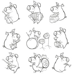 Fotorollo Babyzimmer A Cute Pig Musician. Set Cartoon Character for you Design and Computer Game. Coloring Book Outline