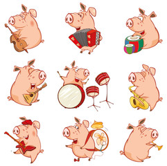 Fotorollo Babyzimmer Vector Illustration of a Cute Pig Musician. Set Cartoon Character