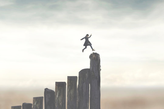 person running fast to successfully reach the top