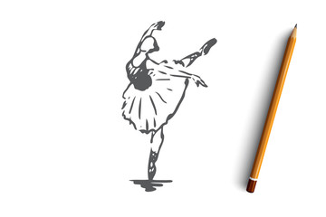 Ballerina, girl, dance, woman, art concept. Hand drawn isolated vector.