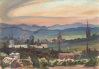 Nature on the outskirts of Sofia in the morning.  Etude (sketch) performed in the open air. Landscape made in gouache.