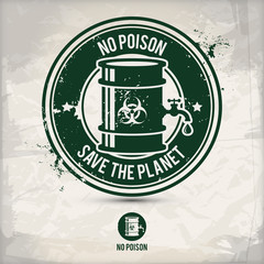 alternative no poison stamp containing: two environmentally sound eco motifs in circle frames, grunge ink rubber stamp effect, textured paper background, eps10 vector illustration