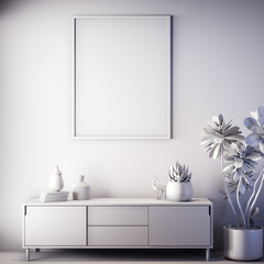 Mock up poster frame in Interior, gray color, Clay render, 3D illustration