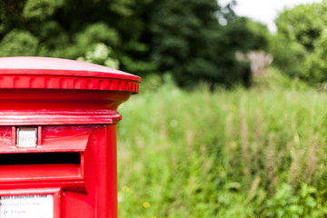 British red mailbox for gathering mail. Traditional mail gathering mailbox