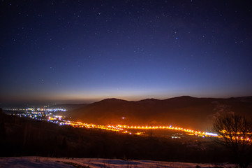 Night in a mountain town in the Carpathians