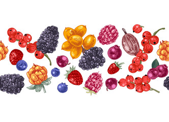 Seamless border with hand drawn berries
