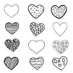 Set of black hand drawn hearts on white background. Design element for Valentine s day. Print for poster, t-shirt, bags, postcard, sweatshirt, flyer.