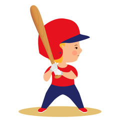Boy playing baseball. Kid with bat in uniform and helmet. Cartoon drawn cute character. Kids sport vector illustration. Children activity poster.