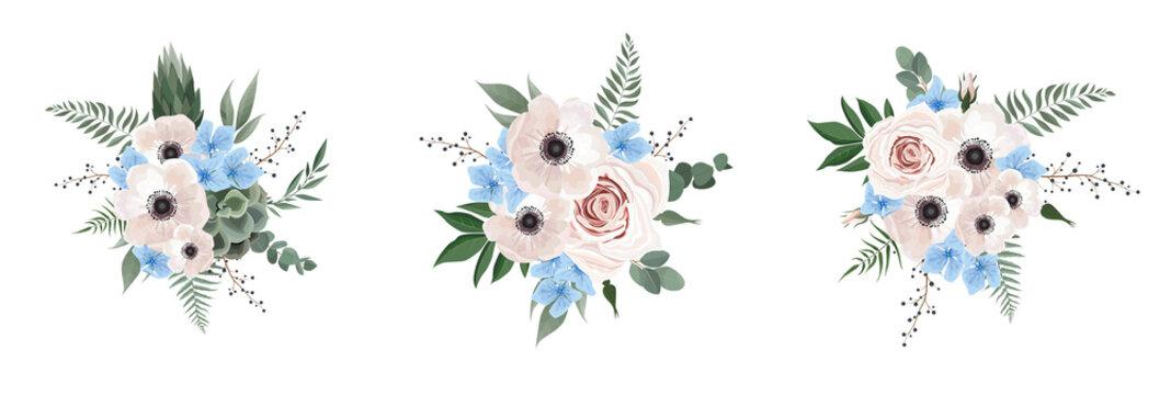 Vector floral bouquet design anemone, Eucalyptus branch . Wedding vector invite card Watercolor designer element set.