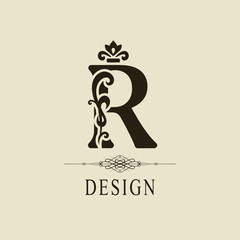 Elegant Capital letter R. Graceful royal style. Calligraphic beautiful logo. Vintage floral drawn emblem for book design, brand name, business card, Restaurant, Boutique, Hotel. Vector illustration