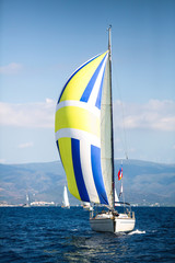 Wall Mural - Sailing luxury yacht boat in the Aegean Sea in Greece.