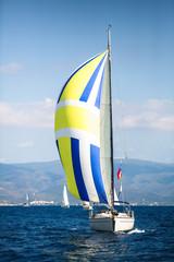 Fototapete - Sailing luxury yacht boat in the Aegean Sea in Greece.