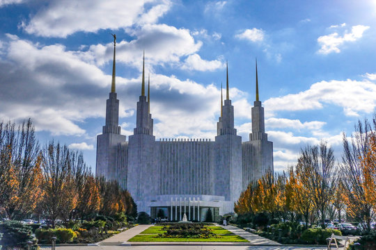 WASHINGTON DC Mormon Temple, Temple - The Church of Jesus Christ of Latter-day Saints, in Kensington , Maryland across the beltway.