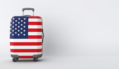 Travel suitcase with the flag of USA. Holiday destination. 3D Render