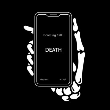 INCOMING CALL SKELETON HAND WITH PHONE BLACK BACKGROUND
