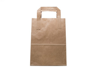 Kraft Paper bag isolated on white background, front view