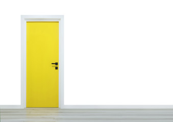 Yellow door with black handle isolated on a white background and wooden floor
