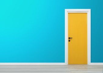 Yellow door with black handle in a gradient blue wall