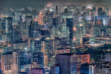 Fototapete - Bangkok city aerial view at evening, Thailand