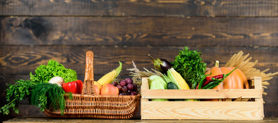 Grocery shop concept. Delivery service fresh vegetables from farm. Buy fresh homegrown vegetables. Just from garden. Box or basket harvest vegetables wooden background. Excellent quality vegetables
