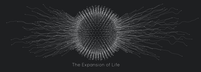 Expansion of life. Vector sphere explosion background. Small particles strive out of center. Blurred debrises into rays or lines under high speed of motion. Burst, explosion backdrop.