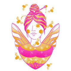 Queen Bee Girl Illustration