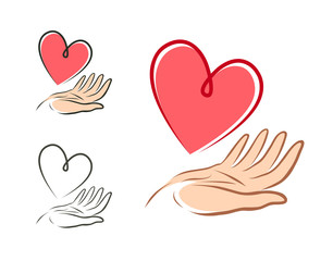 Heart in hand, logo or label. Health, love, life, charity icon. Vector illustration
