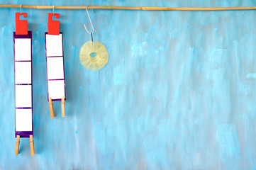 Wall Mural - Empty filmstrips, picture frames, with space for pix, film processing, analog photography, large copy space