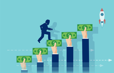 Vector of a businessman climbing up the stairs made of hands holding money.