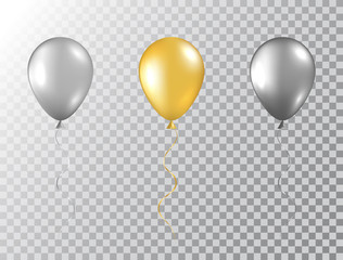 Helium balloons set isolated on transparent background. Glossy foil gold, silver and black festive balloons. Baloon mockup for anniversary, birthday party, wedding, grand opening. Vector illustration