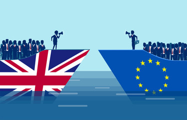 Brexit negotiations and crowd manipulation concept.