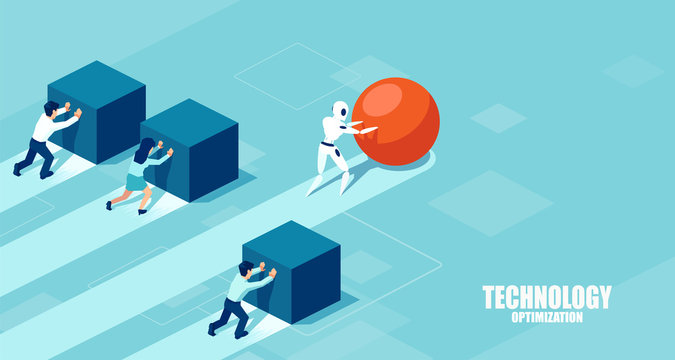 Vector of a robot pushing a sphere leading the race against a group of slower businesspeople pushing boxes