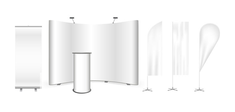Vector exhibition promo set. Curved pop up trade show stand display, promotion retail counter or bar rounded table, roll up banner and feather advertising promo beach bow flags isolated on white.
