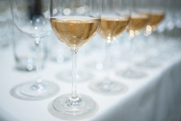 closeup of glass of white wine