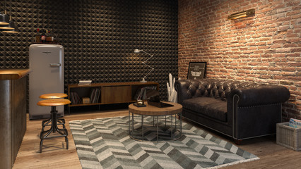 Interior of modern man living room with bar 3D rendering Wall mural