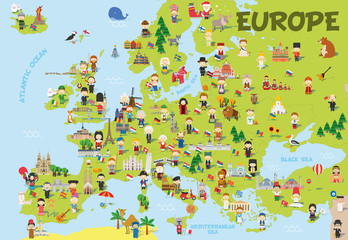 Funny cartoon map of Europe with childrens of different nationalities, representative monuments, animals and objects of all the countries. Vector illustration for preschool education and kids design.